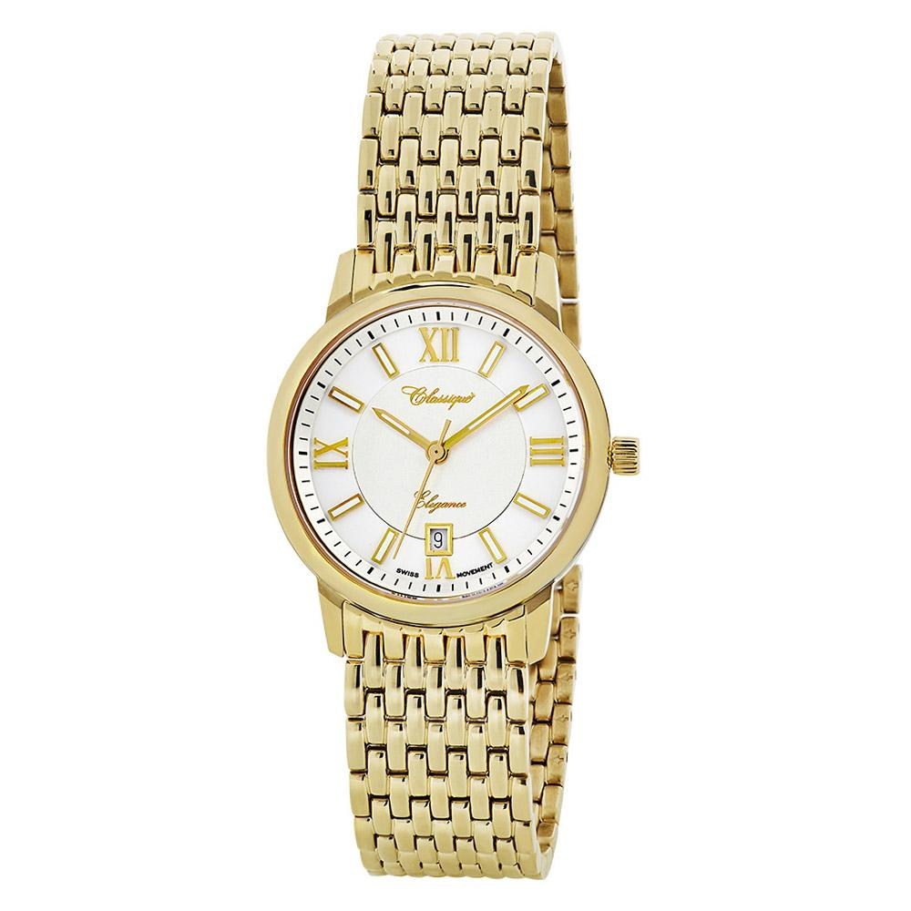 Classique Elegance 60 Diamond Set Gold Steel Ladies Swiss Watch - 28150G
