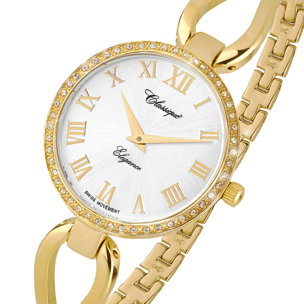 Classique Fashion Gold Steel Half Bangle Ladies Swiss Watch - 7615G