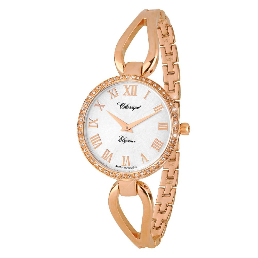 Classique Fashion Rose Gold Steel Half Bangle Ladies Swiss Watch - 7615R