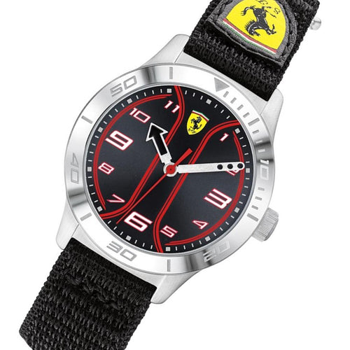 Scuderia Ferrari Academy Black Velcro Fabric Kids Watch - 810022
