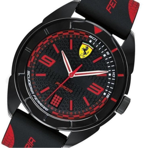 Scuderia Ferrari Black & Red Silicone Men's Watch - 830515