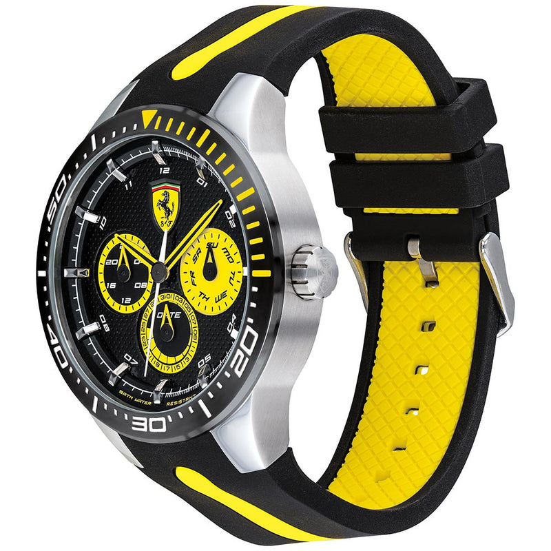 Ferrari Redrev T Black & Yellow Silicone Men's Watch - 830585