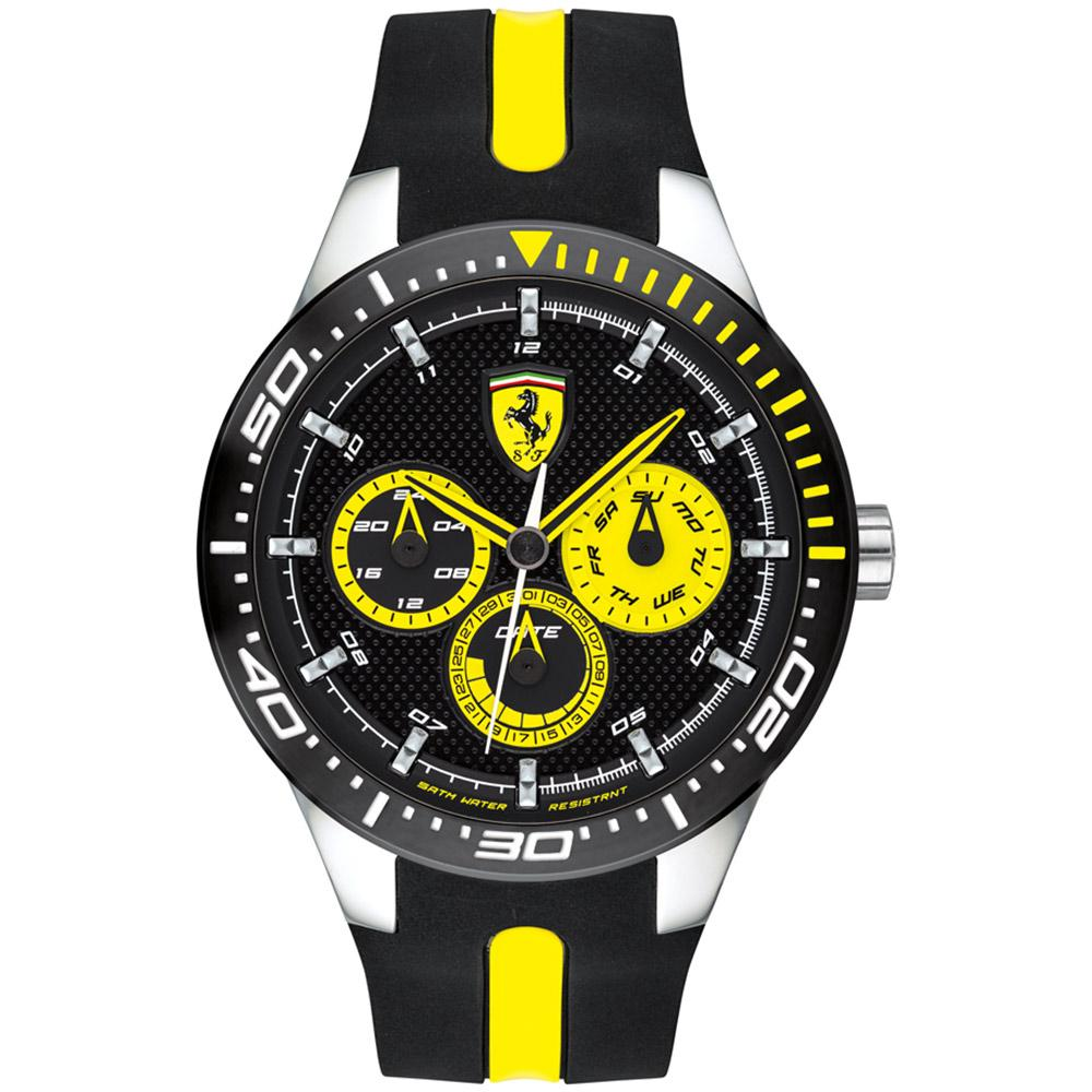 Ferrari Redrev T Black & Yellow Silicone Men's Watch