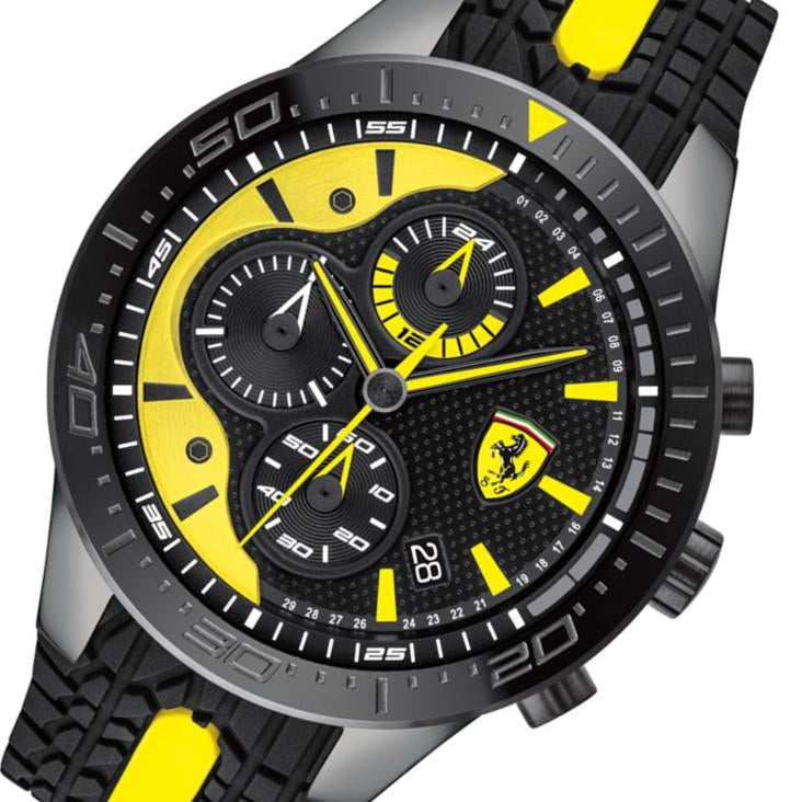 Ferrari Redrev Black & Yellow Silicone Men's Chronograph Watch - 830590