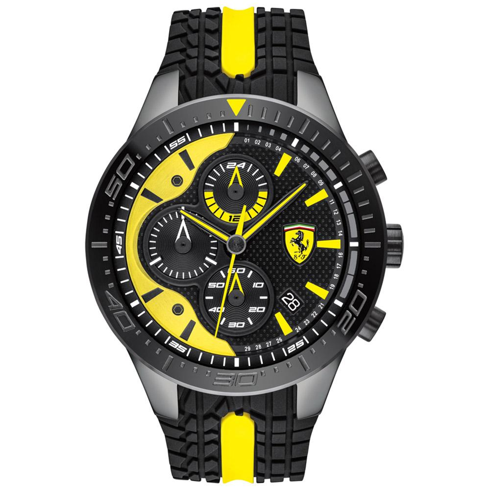 Ferrari Redrev Black & Yellow Silicone Men's Chronograph Watch