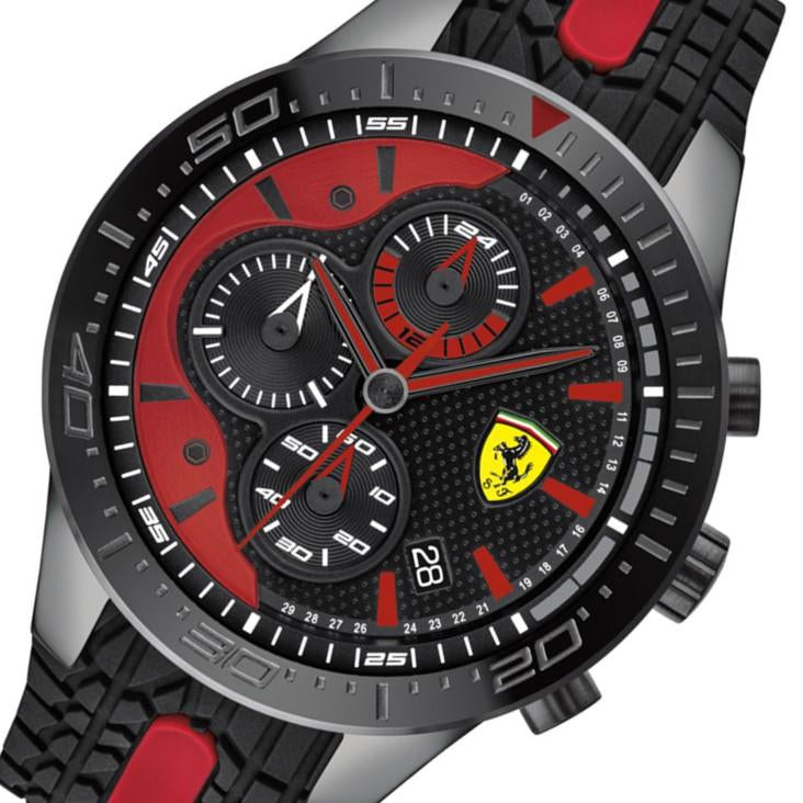 Ferrari Redrev Black & Red Silicone Men's Chronograph Watch - 830592