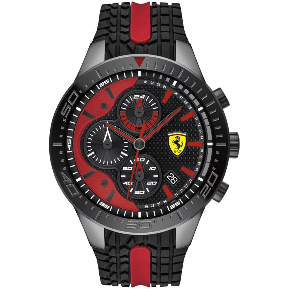 Ferrari Redrev Black & Red Silicone Men's Chronograph Watch