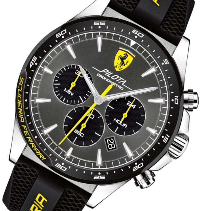 Ferrari Pilota Black Silicone Men's Chronograph Watch - 830594