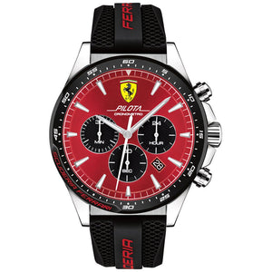 Ferrari Pilota Black Silicone Men's Chronograph Watch