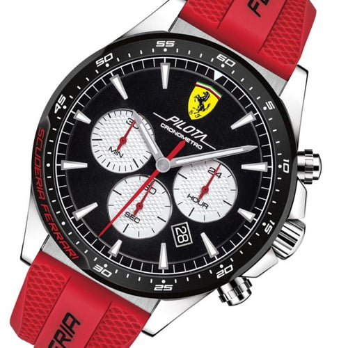 Scuderia Ferrari Pilota Red Silicone Band Men's Chrono Watch - 830596