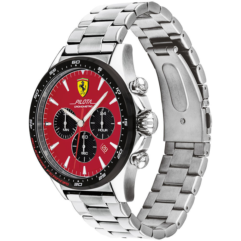 Ferrari Pilota Stainless Steel Men's Chronograph Watch - 830619