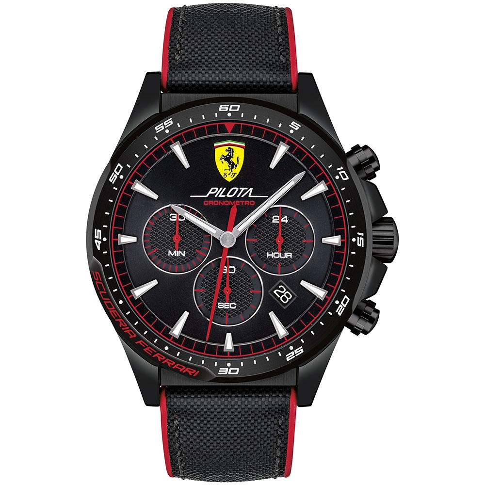 Ferrari Pilota Black Silicone Men's Chronograph Watch - 830623