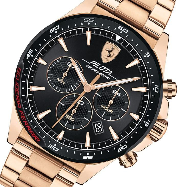Ferrari Pilota Rose Gold Steel Men's Chronograph Watch - 830625