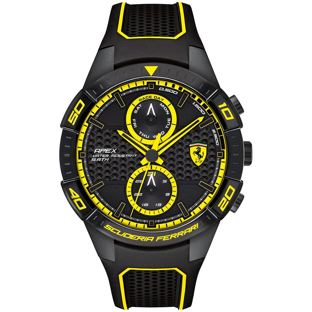 Ferrari Apex Black Silicone Men's Chronograph Watch