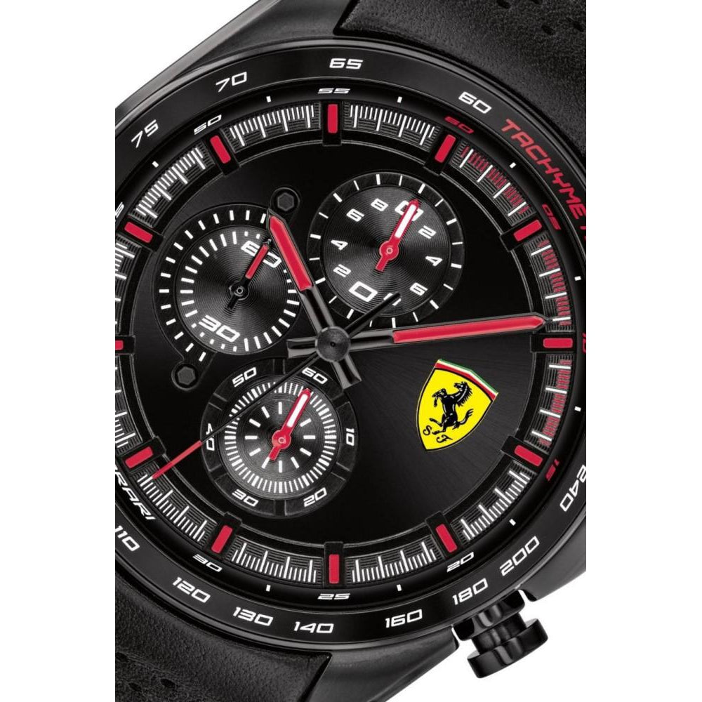 Scuderia Ferrari Speedracer Black Leather Men's Watch - 830647