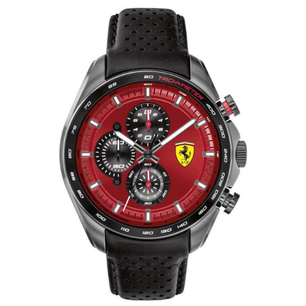 Scuderia Ferrari Speedracer Black Leather Men's Watch - 830650