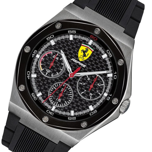 Scuderia Ferrari Aspire Black Silicone Band Men's Multi-function Watch - 830694