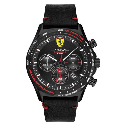 Scuderia Ferrari Pilota Evo Black Leather Men's Sport Watch - 830712
