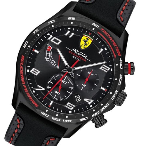 Scuderia Ferrari Pilota Evo Black Leather &  Silicone Band Men's Chrono Watch - 830717