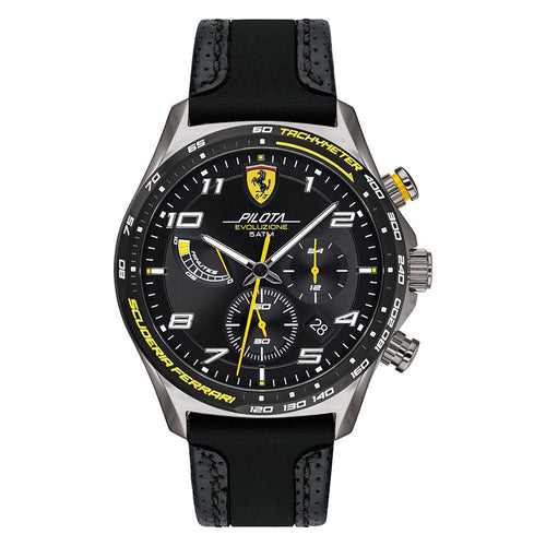 Scuderia Ferrari Pilota Evo Black Leather & Black Silicone Men's Chrono Watch - 830718