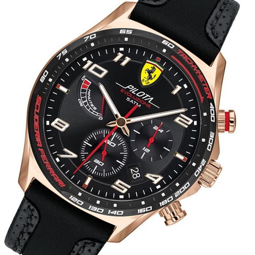 Scuderia Ferrari Pilota Evo Black Leather & Silicone Men's Chrono Watch - 830719
