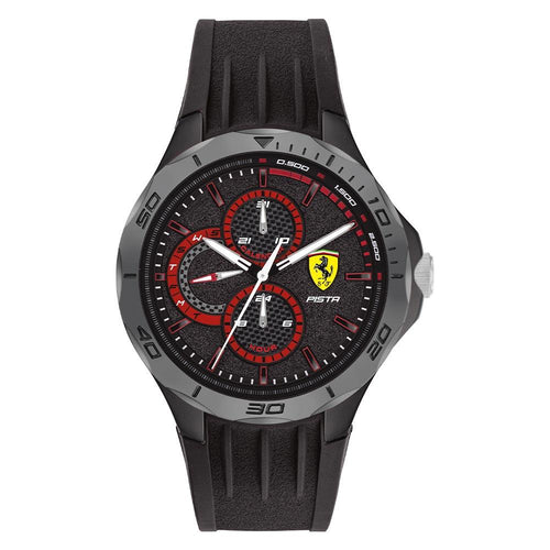 Scuderia Ferrari Pista Black Silicone Men's Multi-function Watch - 830725