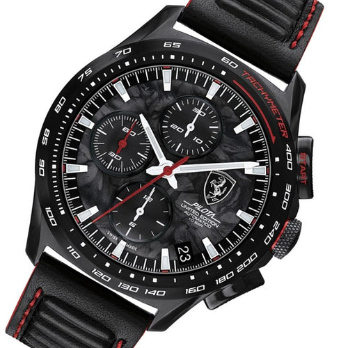 Scuderia Ferrari Pilota Evo Black Leather Men's Swiss-Automatic Watch - 830737