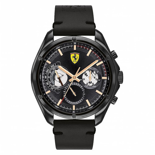 Scuderia Ferrari Speedracer Black Leather Men's Multi-function Watch - 830752