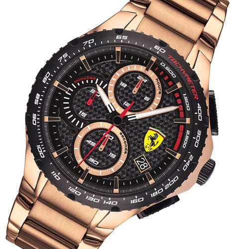 Scuderia Ferrari Pista Ionic Rose Gold Steel Men's Chrono Watch - 830765