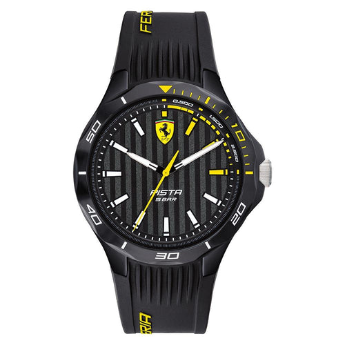 Scuderia Ferrari Pista Black Silicone Band Men's Watch - 830782