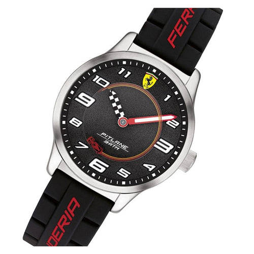 Scuderia Ferrari Pitlane Black Silicone Kids Watch - 860012