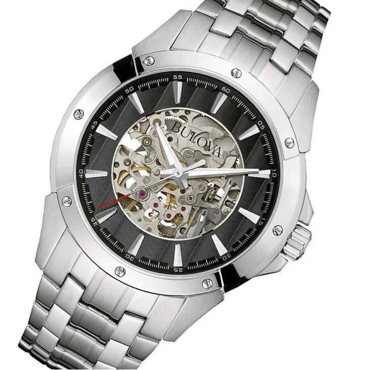 Bulova Maquina Gents Automatic Stainless Steel Skeleton Watch - 96A170