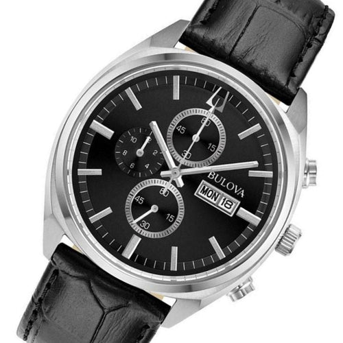 Bulova Gents Surveyor Multi Function Leather Men's Watch - 96C133