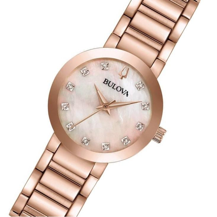 Bulova Ladies Slim Modern Rose Gold Crystal Studded Watch - 97P132