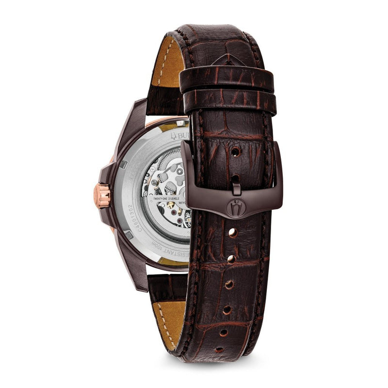 Bulova Sutton Gents Automatic Leather Skeleton Watch - 98A165