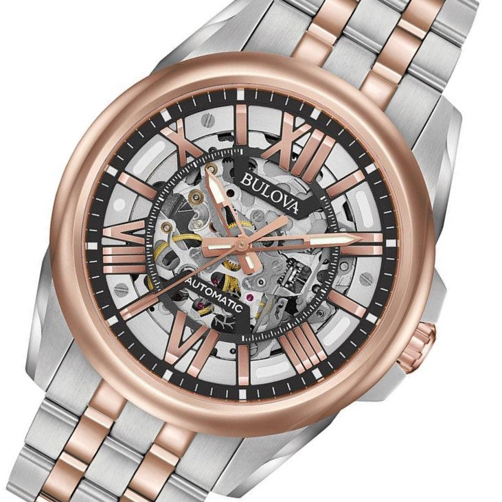 Bulova Sutton Gents Automatic Dual Tone Skeleton Watch - 98A166