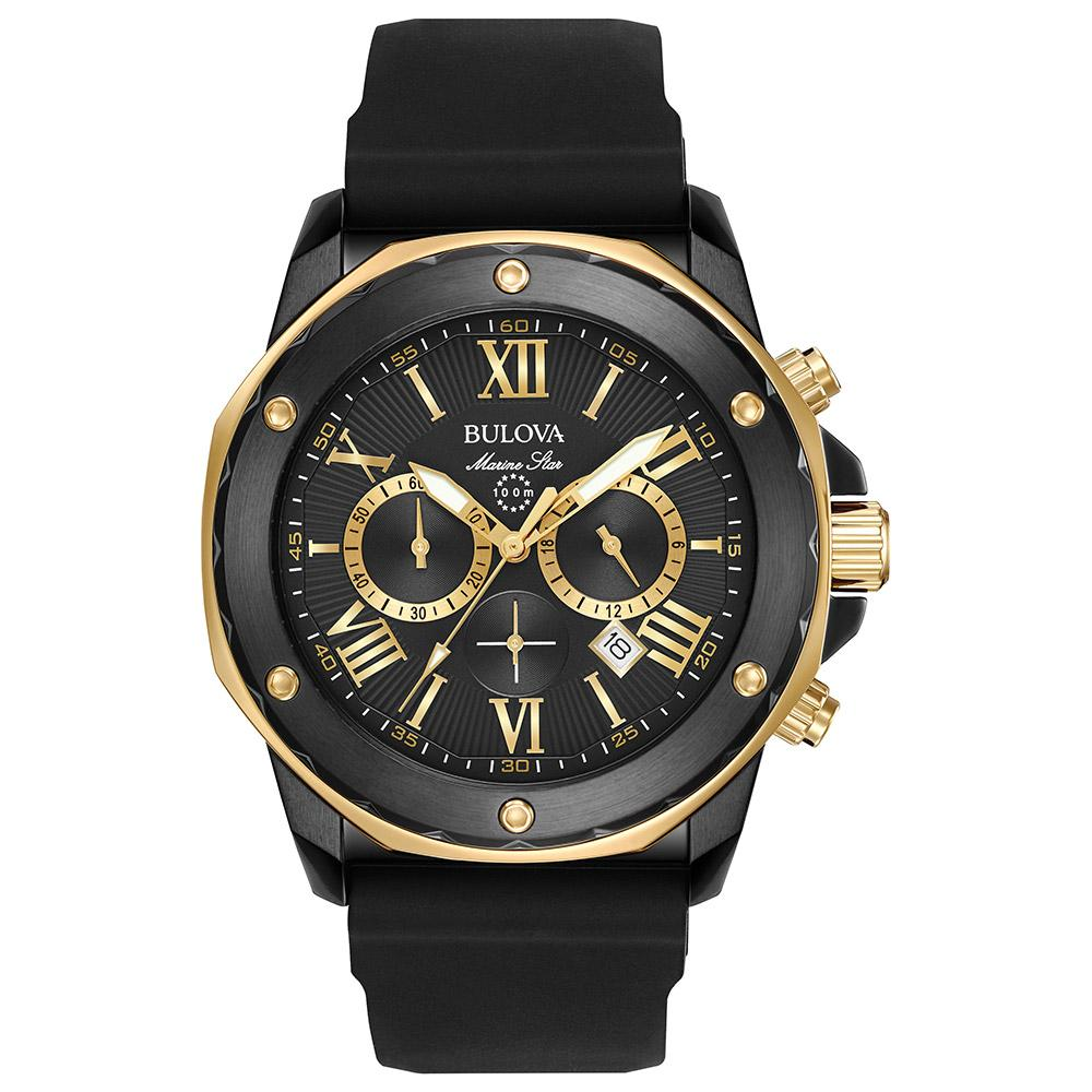 Bulova Marine Star Gents Multi Function Black & Gold Watch - 98B278