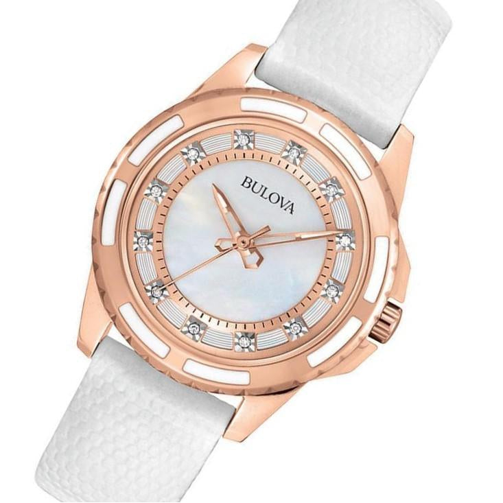 14d301a02f71d Bulova Ladies Sutton Domed Diamond Encrusted Leather Watch - 98P119 ...