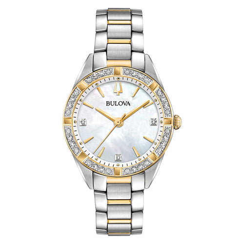 Bulova Ladies Sutton Domed Diamond Dual-Tone Watch - 98R263