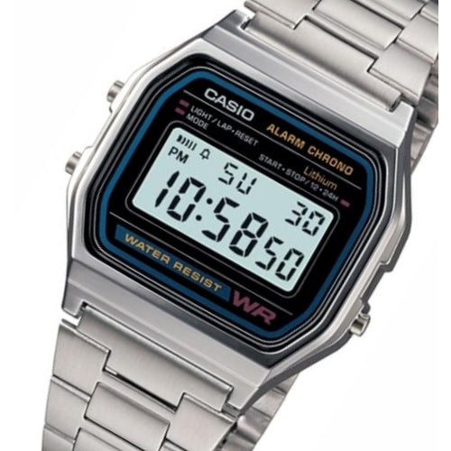 Casio Classic Digital Stainless Steel Alarm Unisex Watch - A158WA-1