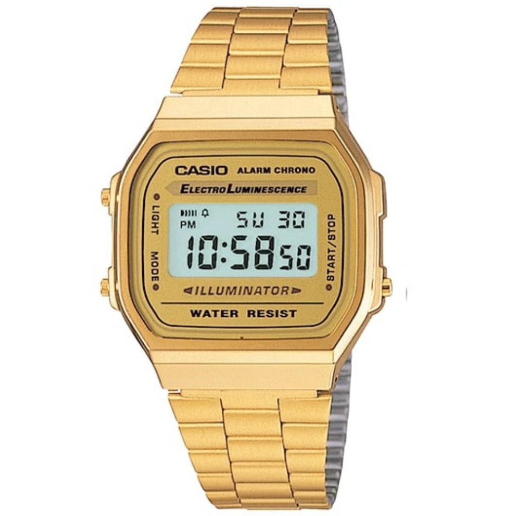 Casio Gold Retro Unisex Digital Alarm Watch - A168WG-9