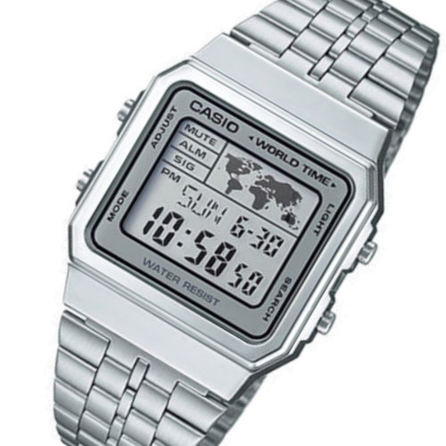 Casio Silver Retro World Time Unisex Digital Watch - A500WA-7DF