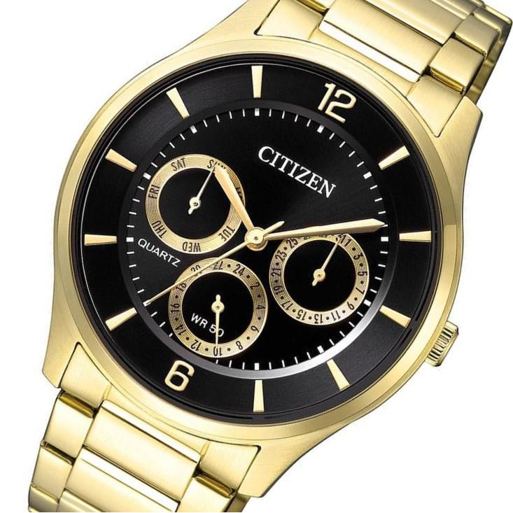 Citizen Gents Gold Stainless Steel Multi Function Quartz Watch - AG8353-81E