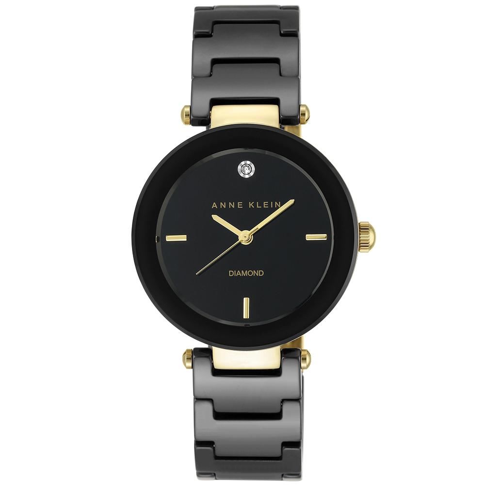 Anne Klein Diamond Black Bracelet Ladies Watch - AK1018BKBK