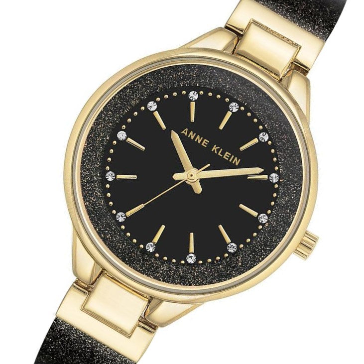 Anne Klein Swarovski Crystal Accent Bangle Ladies Watch - AK1408BKBK