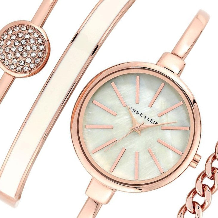 Anne Klein Rose Gold Ladies Watch & Bracelet Set - AK1470RGST