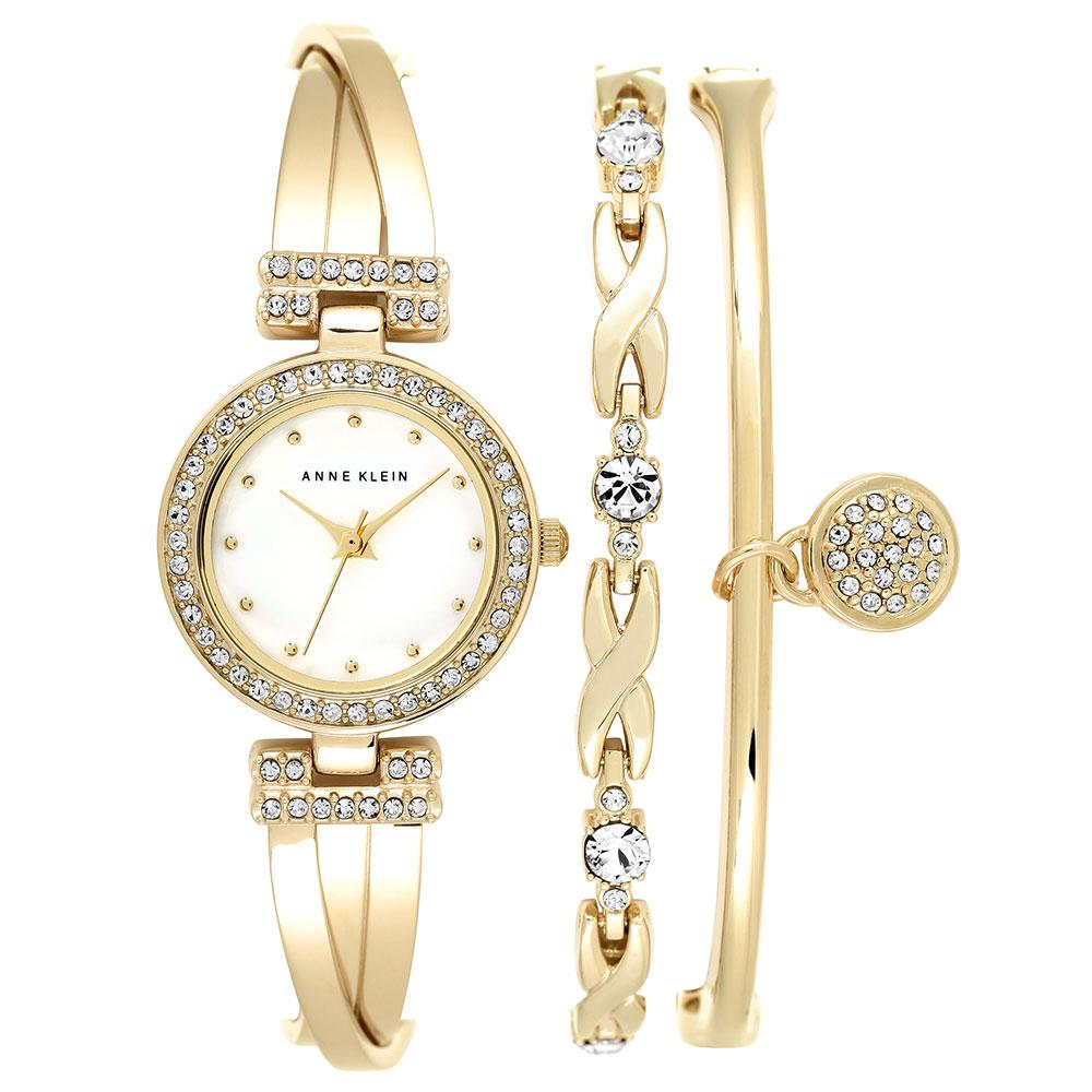Anne Klein Swarovski Cystal Accents Gold Ladies Watch - AK1868GBST