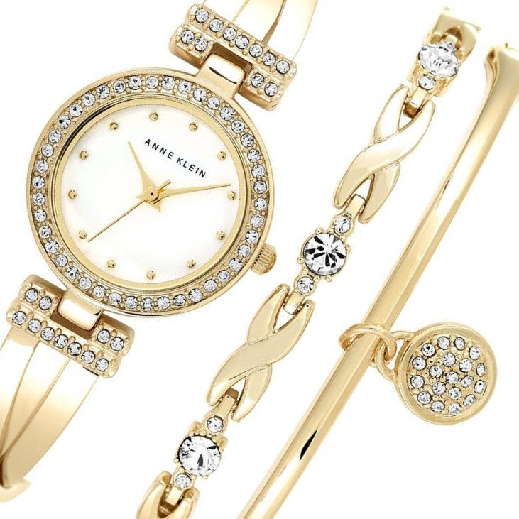 Anne Klein Swarovski Crystal Ladies Watch & Bracelet Set - AK1868GBST