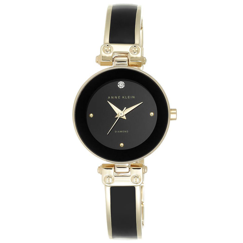 Anne Klein Diamond Gold and Black Bangle Ladies Watch - AK1980BKGB