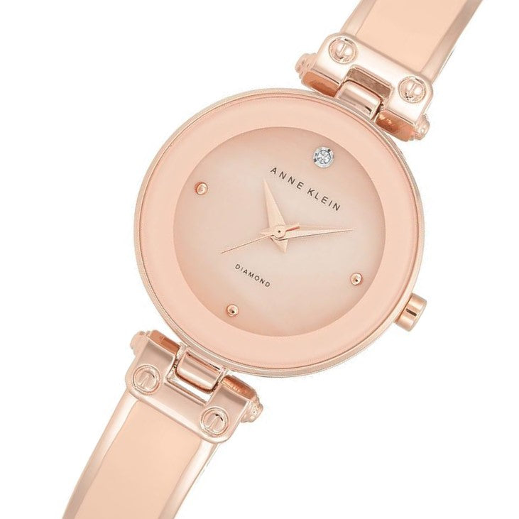 Anne Klein Diamond Rose Gold Bangle Ladies Watch - AK1980BMRG